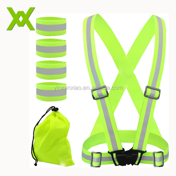 Custom Fully Adjustable Running Cycling Motorcycle Hi Vis Safety Reflective belt Vest Kids