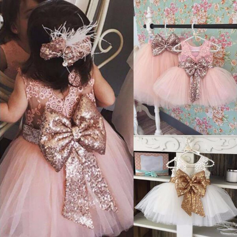 New Fashion Sequin Flower Girl Party Wear Gowns Fancy Kids Evening Princess Floor Length Dress