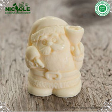 Free Shipping 3D Santa Claus Silicone Candle Moulds Silicone Christmas Resin Craft Home Decor Soap Chocolate Mold