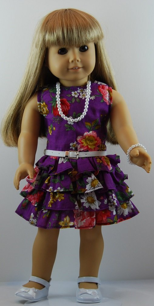 Get Quotations Purple Fl Splash Dress Outfit Includes Shoes And Fits 18 Inch American Dolls