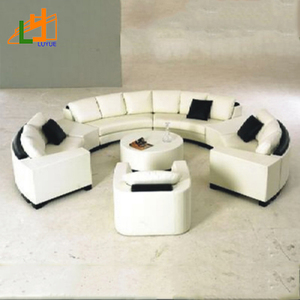 fashion european royal furniture leather 5 seater round leather sofa set for living room