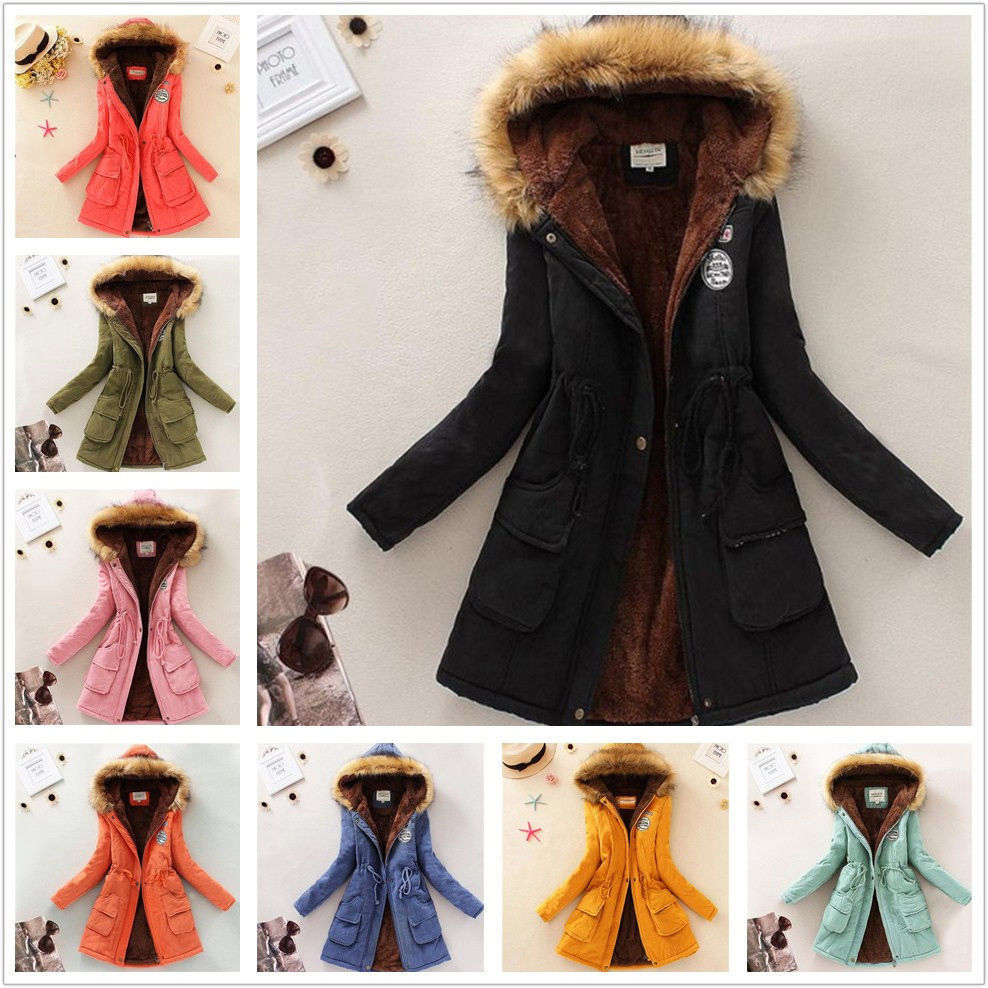 WALSON wholesale drop shipping Womens Winter Warm Long Coats Faux Fur Collar Hooded Jacket Slim Parka Outwear