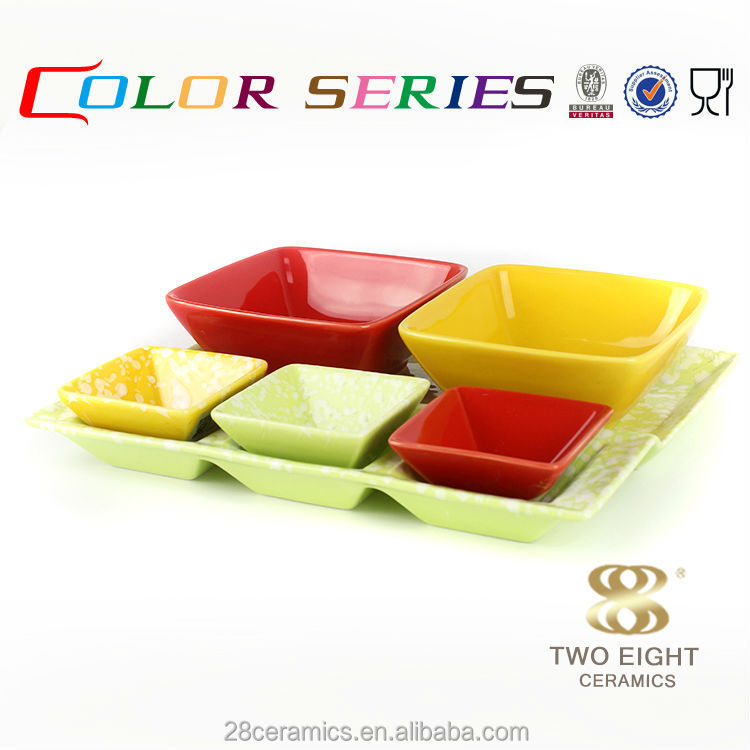 Wholesale restaurant enamelware, square bisque ceramic serving set
