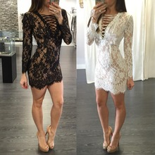 PP06 women winter dress autumn style long sleeve v neck sexy club dress new fashion white black lace dresses wholesale