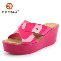 Wholesale Jelly Shoes Candy Color Glass Slipper Wedge Heel ...