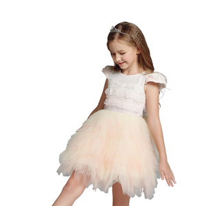 Girl dress lace ruffles tulle ballerina performance kids party dresses