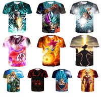Custom Pattern Logo Cartoon Character Dragon Ball Men's Full Dye Sublimation T-Shirt Fashion 3D Printed T Shirt