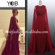 Quality queenly red pleated chiffon long evening dresses with cloak party dresses prom dresses for dubai petticoat