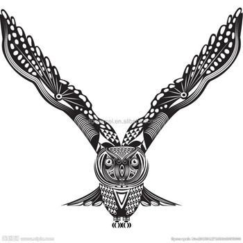Easy Useful Waterproof Adhesive Article Temporary Black And White Owl Tattoo Sticker