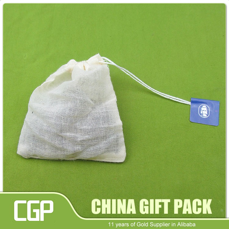 NO MOQ Customized empty sachet drawstring cotton tea paper bags
