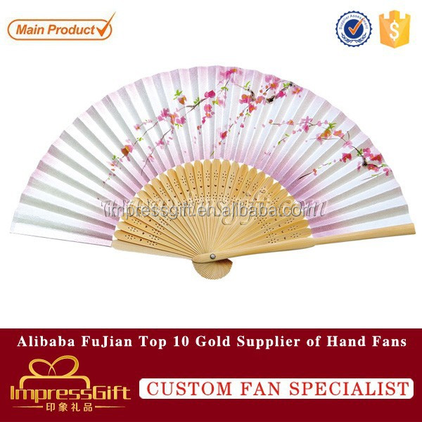 Beautiful peach blossom lady silk hand fan with bamboo ribs