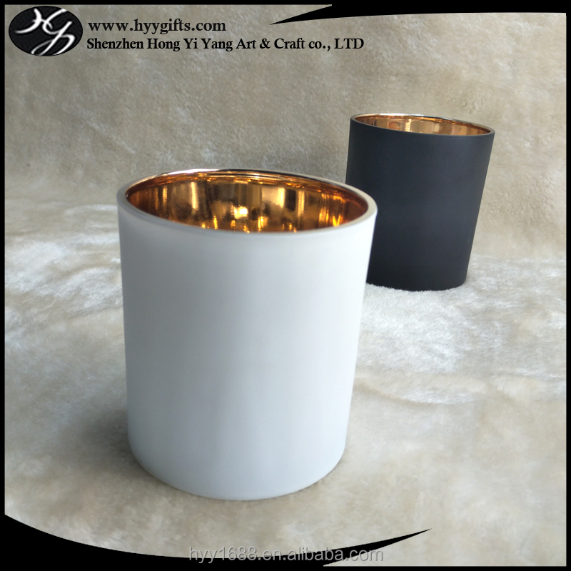 300ml supply matte white candle cup with shiny gold inner glass candle holder
