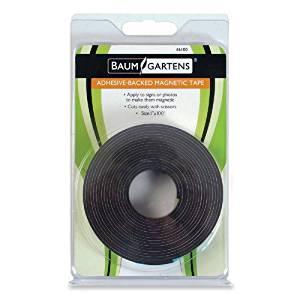 Baumgartens Magnetic Tape - 1amp;quot; Width x 100' Length - Magnet - Flexible - 1 Roll - Black
