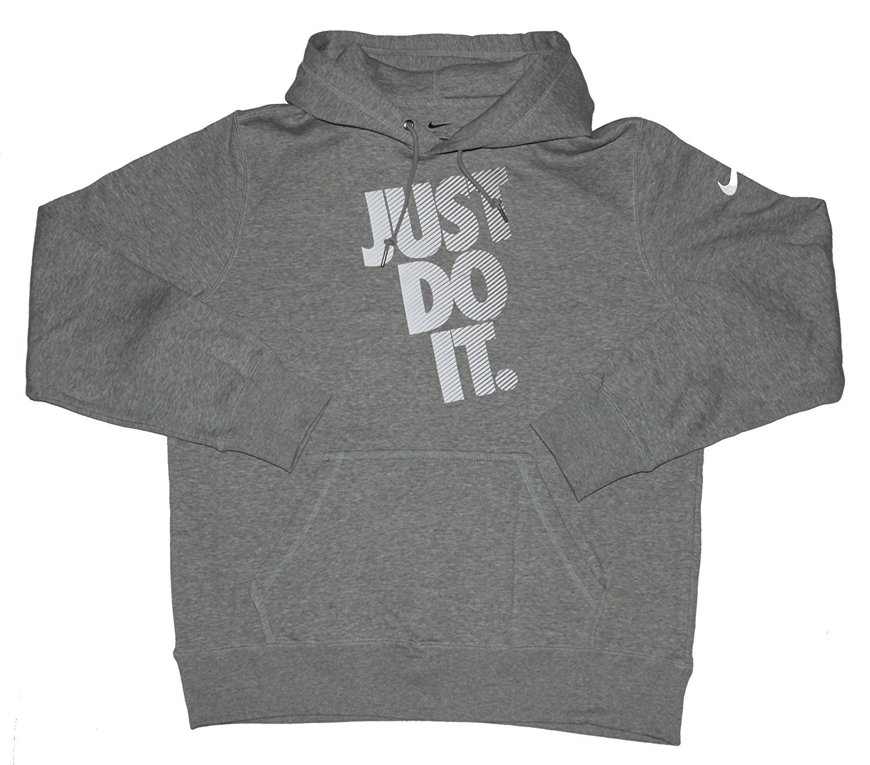 "Nike Men's ""Just Do It"" Graphic Fleece PO Hoodie Grey Heather Sz Large"