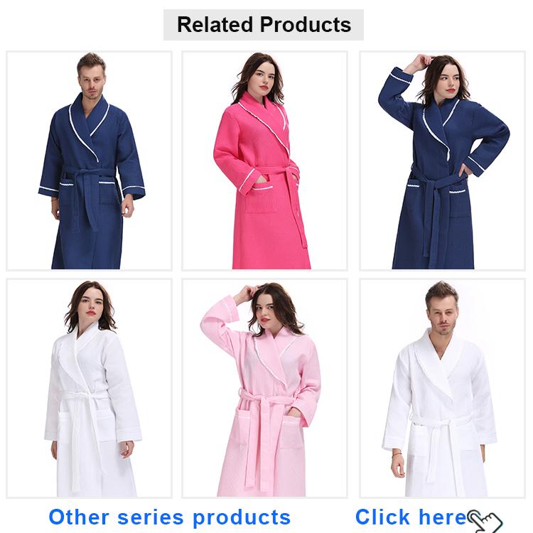 Natuurlijke lange man wit sherpa kraag spa robe nachtkleding hotel home zwarte wafel katoen nacht badjas voor mannen