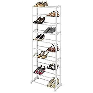 Get Quotations 30 Pair Standing Shoe Rack White Organization Metal Construction Durable Wire Design