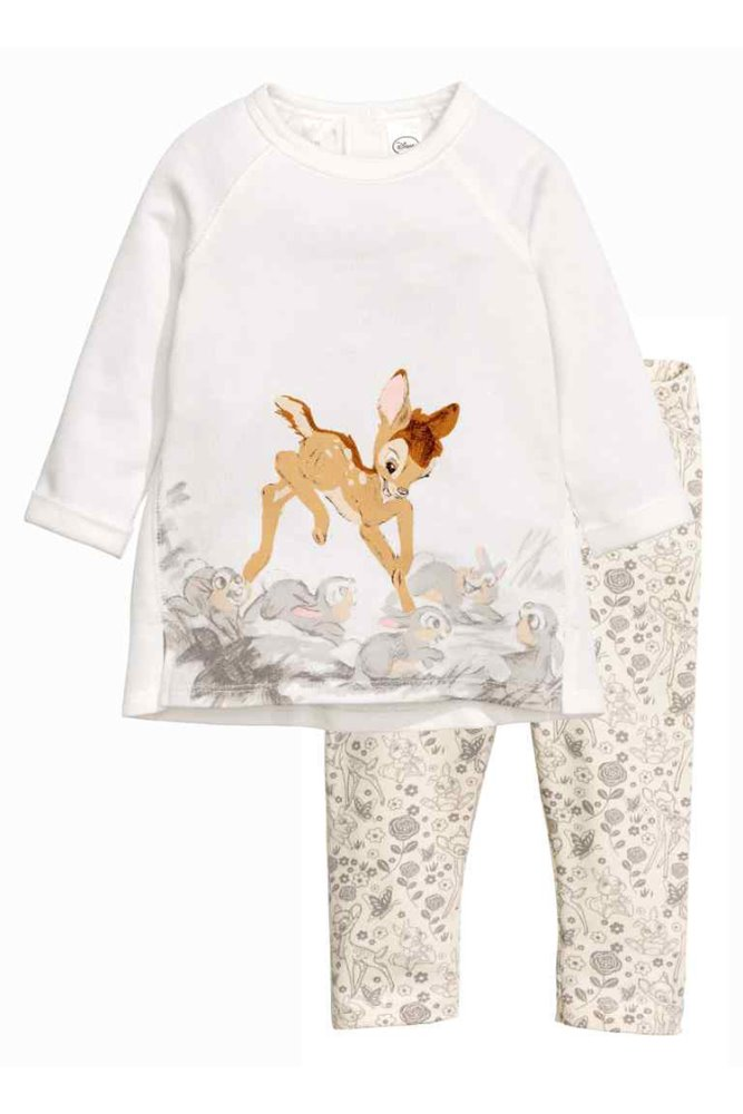 Baby Plain White Bambi Cartoon Printed Trendy Pajamas Clothing For 2 Years Old