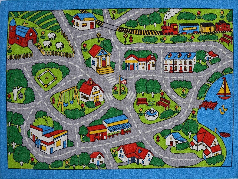 3x5  Area Rug  Street  Car Policeman Kids  Play Fun Time Roads /& Maps Non Skid