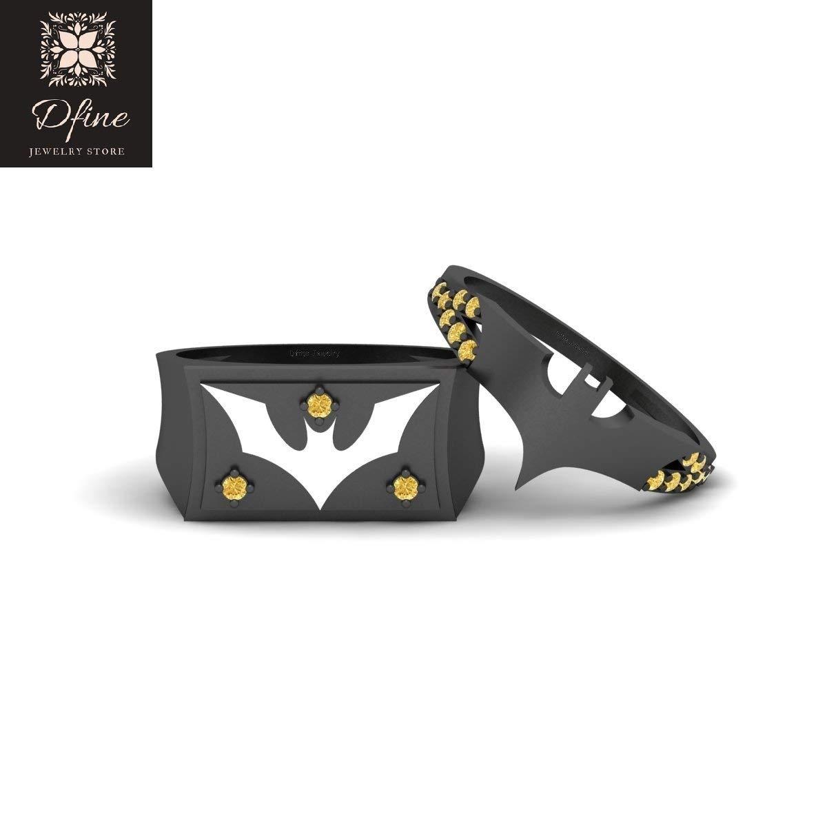 Yellow Diamond Batman and Batgirl Fantasy Superhero Theme Matching Wedding Ring Set Batman Jewelry