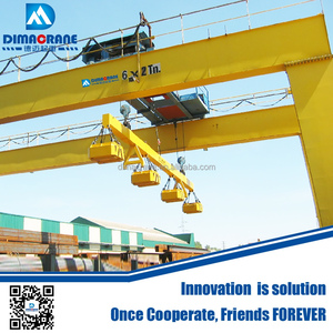 Double girder Electric magnetic Election magnet goliath gantry crane with  magnet cap carrier-beam cap