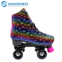 Classic indoor and outdoor rainbow star design inline skate roller skates
