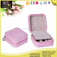 Hot Sale Promotional Use Hand Made PU Leather Zipper jewelry travel bag