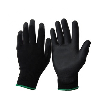 13 gauge polyester knitted black PU coated work gloves