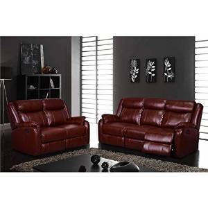 Charmant Get Quotations · Global Furniture USA 2 Piece Leather Reclining Sofa Set In  Burgundy