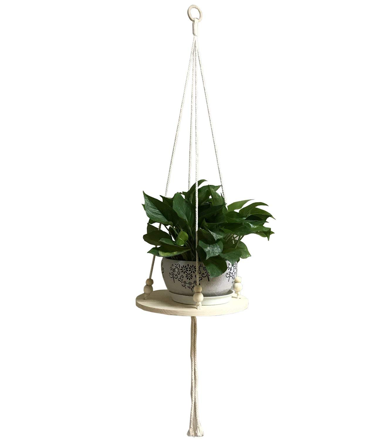 Decor Trends Wall Hanging Plant Shelf Macrame Display Wall Hanging Shelf Flower Pot Holder Succulent Plants Hanger with Wooden Plant Stand for Balcony Patio Ceiling 45'' Length