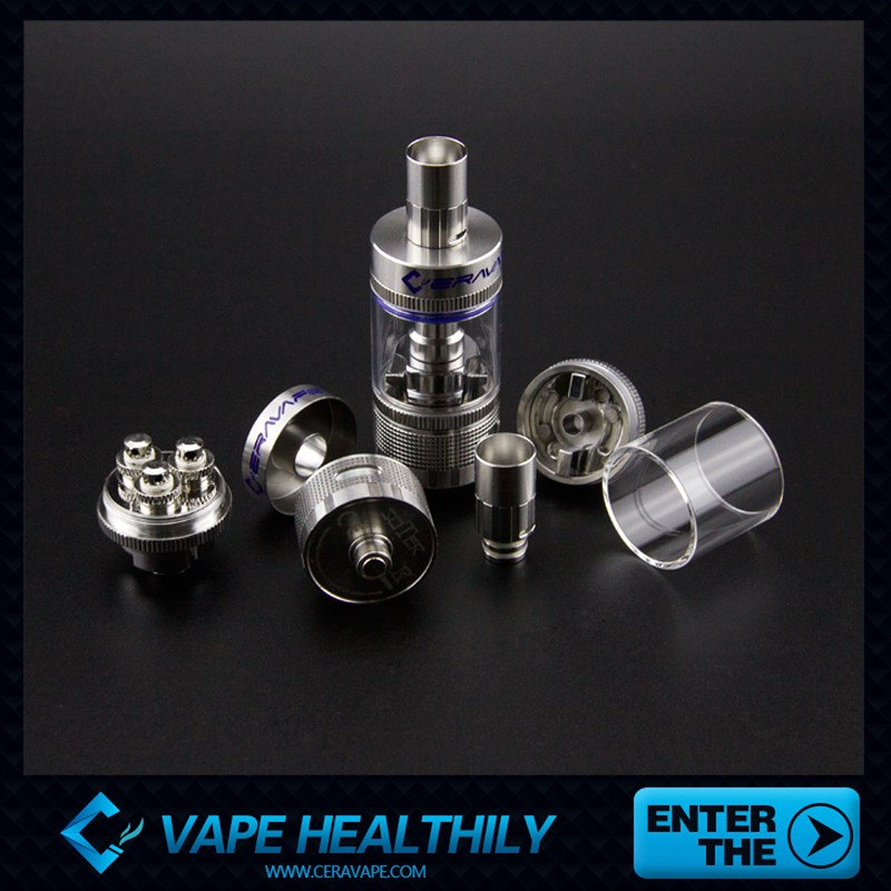 stainless steel drip tip 8ml Soter tank top filling ceramic coil atomizer shipping from china