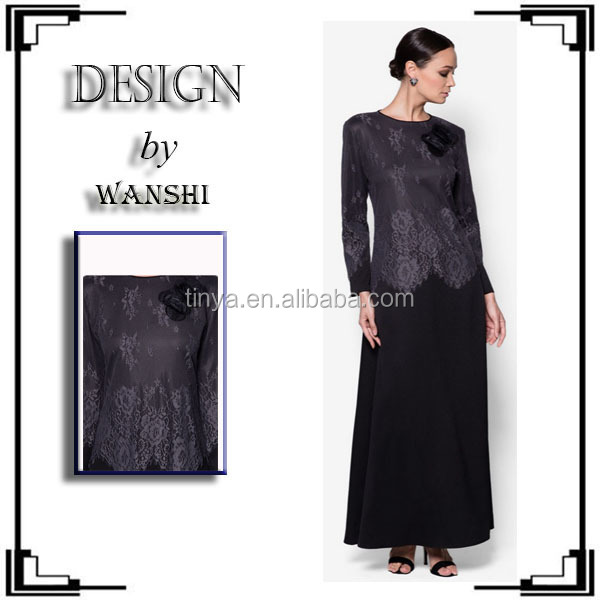 Latest fancy lace design black abaya for malaysia