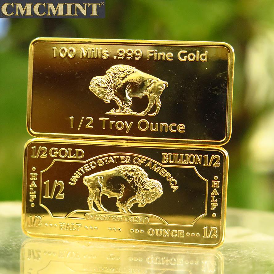 Lage MOQ custom munt antieke 1/2 oz. 100 Mills 24 k Vergulde Buffalo Bar