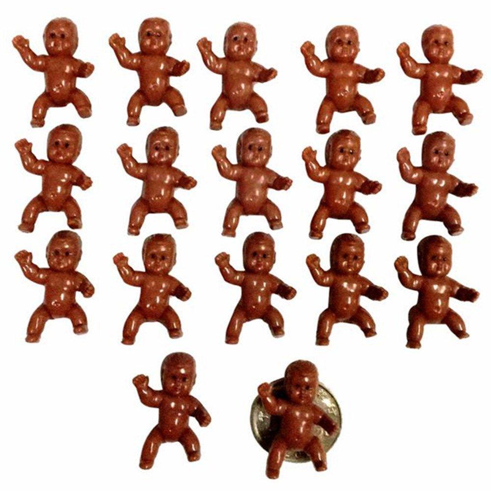 """JUXINDA 1.2 """"Baby Shower Mini Plastic Baby Ice Cubes Game / Party Pet King Cake / King Cake Baby / King Cake Baby / Plastic Baby (Black)"""
