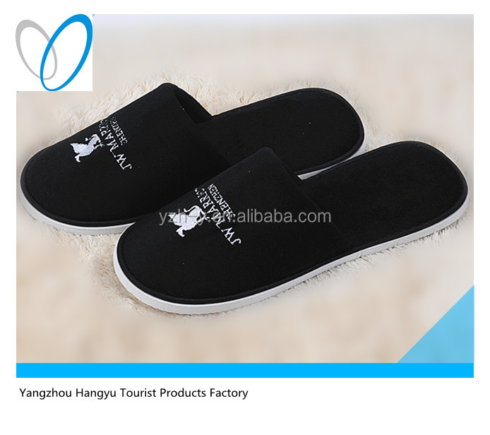 New design relaxo flite 100% cotton black velour bathroom slippers for man