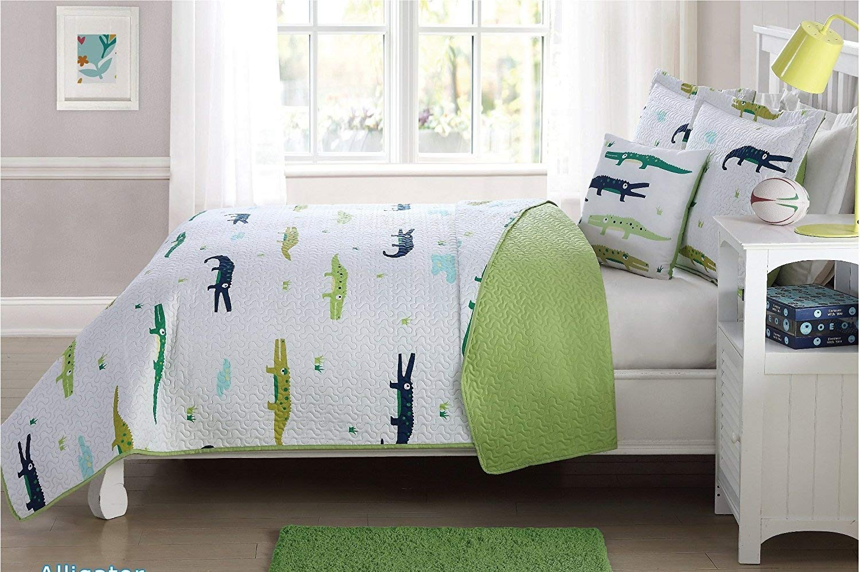 Fancy Linen 3pc Twin Size Bedspread Coverlet Alligator White Light Blue Green Navy Blue Reversible New #Alligator
