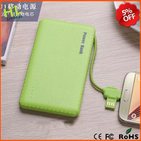 New arive 5000mah power bank built-in charge cable, with usb port and iphone6 port