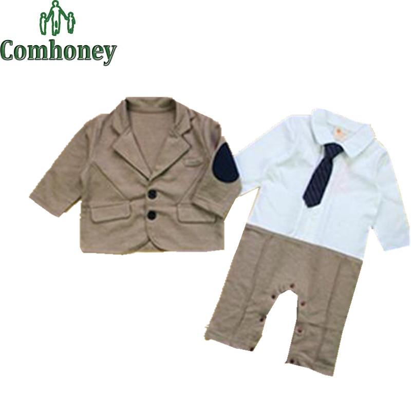 Gentleman Baby Boy Clothes White Shirt Romper Blazer Clothing Set Newborn Wedding Suit Gentleman Suit 2