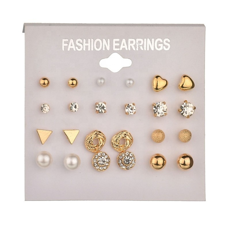 Top quality gold plated cute fancy stud fashion earring set