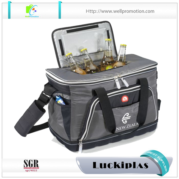 Multi outside pockets plastic wine cooler bag beer bottle cooler with top opener