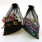 Supply 25x25cm large black organza favour gift bags pouch Mesh Party Drawstring Gift Wedding Favour Gift Bags