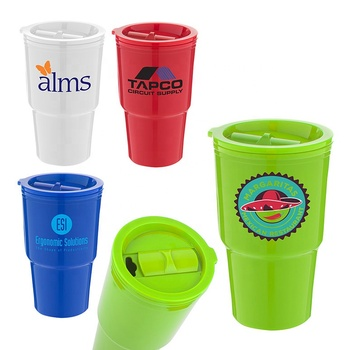 20 oz double wall insulated plastic push down top rubber gasket slider opening colorful travel cold beverage auto mug