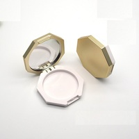 Empty Gold Single Cosmetic Packaging Highlight Powder Blusher Case with Mirror
