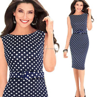 Wholesales elegant Polka Dot Ladies Pencil Dress With Belt PW-OXL.13190