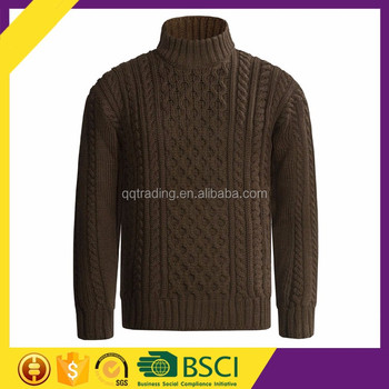 Cable Knitted Patterns Men Turtleneck Sweater Long Sleeve