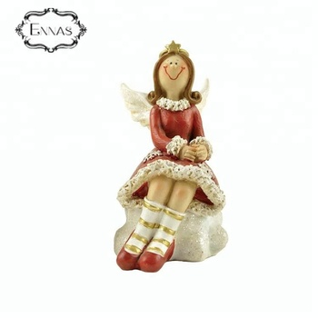 2018 Best selling christmas decoration gifts sitting on base resin red decorative angel