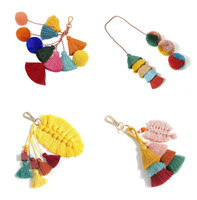 Boho Bag Accessories Bohemian Multi Color Tassel Bag Charm Pom Pom Purse Charm Handbag Charm Pompom Key Chain Tassel Keychain