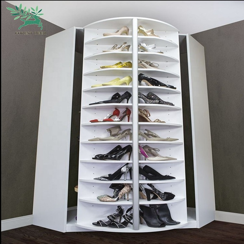 Australian market wooden grain melmained particle board MDF wholesale oval revolving shoe rack cabinet with iron rotating rack
