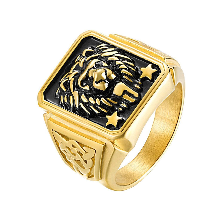 Kemosix Mens Ring Retro Lion Head Star Titanium Steel Gift Rings for Men