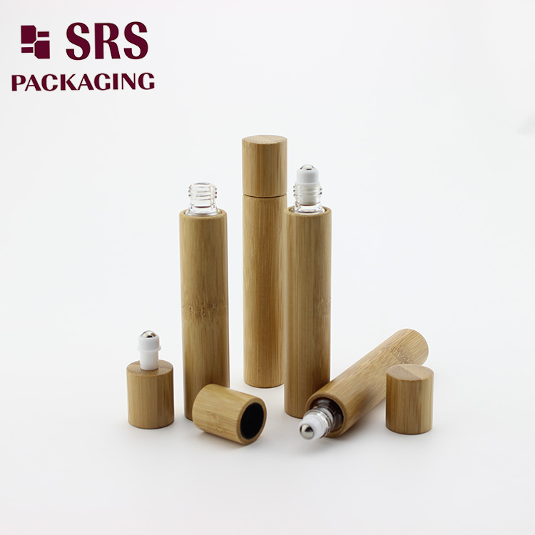 Eco-friendly 15ml natural bamboo essential oil roller bottle with glass inner bottle