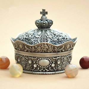 Classical European style Metal Jewelry Storage Box Case Crown Shape Tin